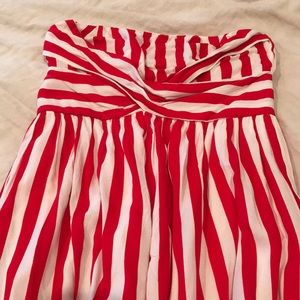 Red and white striped strapless maxi dress